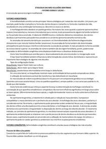 ETIOLOGIA DAS MÁS OCLUSÕES DENTÁRIAS - fatores gerais e locais