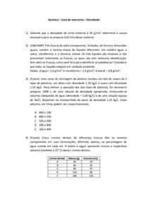Lista de exercícios (com gabarito) - Densidade - Química