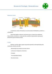 Resumo de Fisiologia 1 - Biomembranas