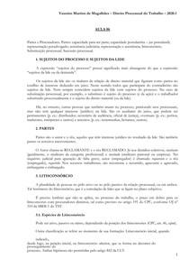 Partes e procuradores - Direito Processual do Trabalho - 2020 1