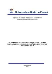 OS PROCESSOS DE TRABALHO DO ASSISTENTE SOCIAL NAS POLÍTICAS DE MEIO AMBIENTE, EDUCAÇÃO E NAS INSTITUIÇÕES DO TERCEIRO SETOR