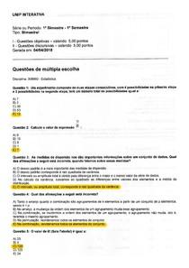 Estatística - Prova 1 com gabarito oficial (Unip - 2018/01)