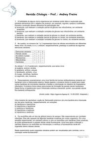 Revisão Citologia - Ficha de Exercícios