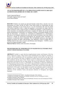 ATUAÇÃO FISIOTERAPÊUTICA NAS PRINCIPAIS LESÕES MUSCULARES QUE ACOMETEM  JOGADORES DE FUTEBOL DE CAMPO e42c156153b10