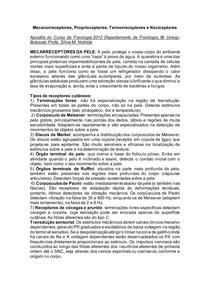 Mecanorreceptores, Proprioceptores, Termorreceptores e Nociceptores