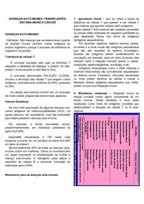 DOENÇAS AUTO-IMUNES; TRANSPLANTES; SISTEMA IMUNE E CÂNCER