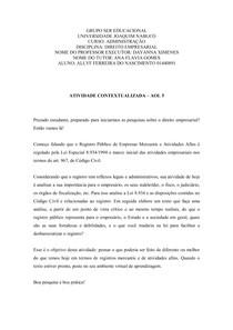 Atividade Contextualizada - AOL 5 - Direito Empresarial - Uninabuco