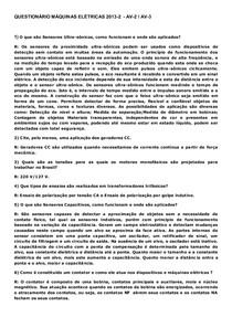 1-QUESTIONÁRIO MÁQUINAS ELÉTRICAS 2015