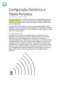Configuração Eletrônica e Tabela Periódica