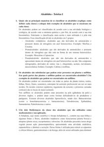 Alcalóides - Questões Teóricas e Práticas - Parte 1