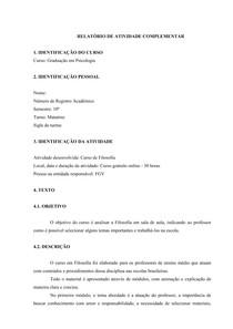 relatorio de filosofia fgv de atividade complementar filosrelatorio de filosofia fgv de atividade complementar