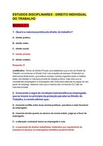 DISCIPLINAS ONLINE- DIREITO INDIVIDUAL DO TRABALHO
