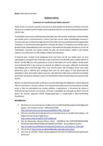 Resenha Crítica do Texto - Adversidades da docência no Brasil