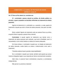 COMENTÁRIOS À LGPD: ARTIGO 5º, inciso VI