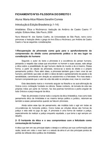FICHAMENTO introdução à edição brasileira (Arístoteles)