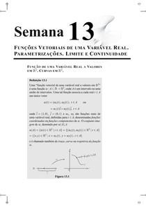 semana13-Funções vetoriais de uma variavel real. Parametrização.Limite e continuidade