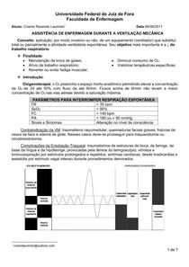 Assistência de enfermagem durante a ventilação mecânica
