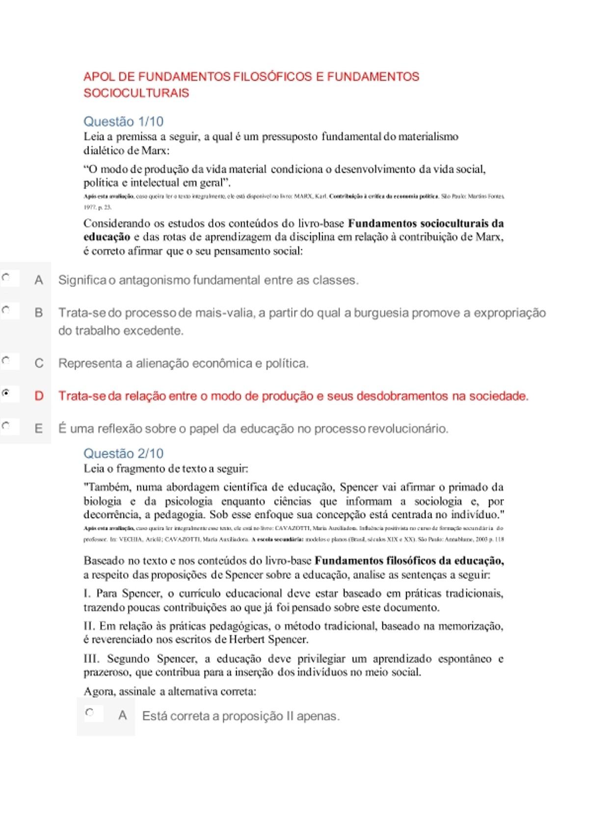 Pre-visualização do material APOL DE FUNDAMENTOS FILOSÓFICOS E FUNDAMENTOS SOCIOCULTURAIS - página 1