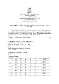 Modelos matemáticos para estimar a biomassa da parte aérea de Pinus taeda.