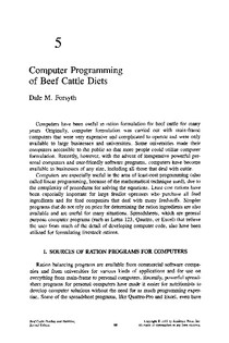 5 Computer Programming of Beef Cattle Diets 1995 Beef Cattle Feeding and Nutrition Second Edition