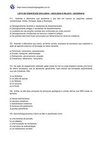 Lista de exercícios sobre Geologia - Relevo
