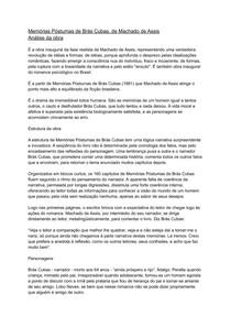 Memórias Póstumas de Brás Cubas- resumo com analise da obra