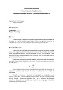 Relatório Prática 06-Formação de Enxofre Coloidal e Velocidade da Reação.
