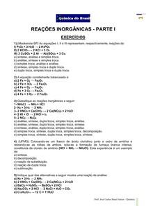 Reações inorgânicas I - lista de exercícios (Prof Brasil)
