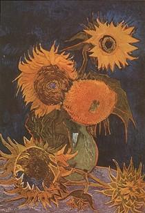 Vincent Willem van Gogh-ainda-vida de vaso-com-Five-Sunflowers