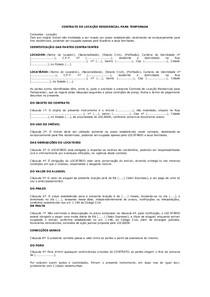 Modelo De Contrato De Locação Residencial Para Temporada Int