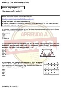 Exercícios para praticar OBMEP NÍVEL 2 - AULA 3 - 1º fase #EXCLUSIVOPD