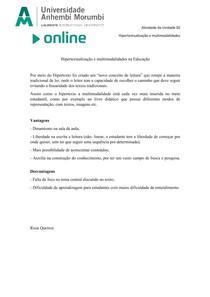 Hipertextualização e multimodalidades na educação atividade 2
