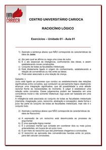 EXERCICIO DE FIXAÇÃO   UNIDADE 01   AULA 01   GABARITO