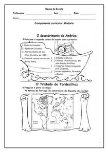 Alfabetização Atividades de História - Descobrimento da América - 1