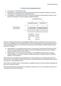 PROVA 2 -EPIDEMIOLOGIA (sensibilidade, especificidade, variabilidade, confiabilidade)