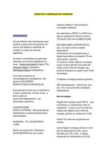 DIGESTÃO E ABSORÇÃO DE GORDURA