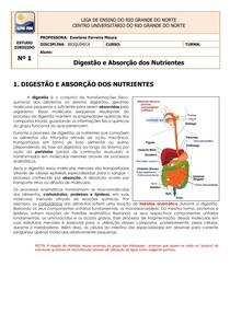 ESTUDO DIRIGIDO Nº 1 DIGESTÃO E ABSORÇÃO 2014