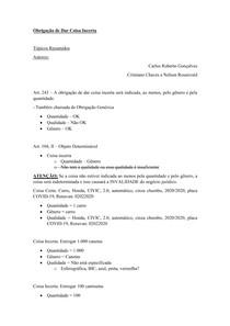 Material de Apoio 04 - Modalidade das Obrigações [Obrigação de Dar Coisa Incerta]