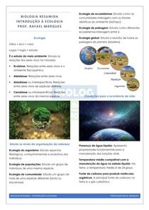 Ecologia 01 - Introdução à Ecologia - Resumo