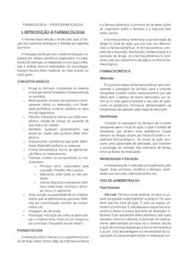 RESUMO FARMACOLOGIA BÁSICA - PROVA 1 (4º SEMESTRE MEDICINA UFMS)