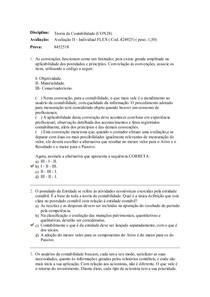 Avaliação II   Individual FLEX Teoria da Contabilidade UNIASSELVI