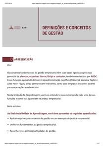 DEFINIÇÕES E CONCEITOS DE GESTÃO