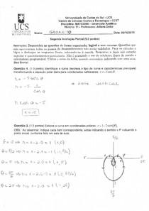 Gabarito Prova 2 - Coordenadas Polares - Questões 1 e 2