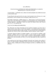 CÁLCULO DA TAXA DE LOTAÇÃO - Agronomia