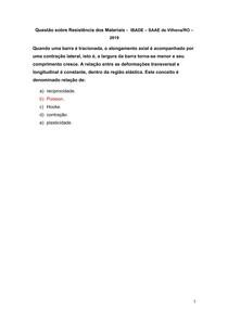 Questão sobre Resistência dos Materiais - IBADE SAAE de Vilhena-RO 2019