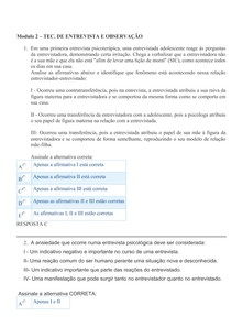 PSICOLOGIA -  QUESTÕES E RESPOSTAS Modulo 2   TEO