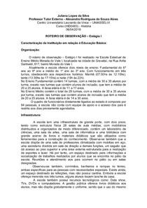 ROTEIRO DE OBSERVAÇÃO ESTÁGIO I UNIASSELVI