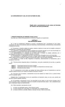 LEI COMPLEMENTAR Nº 3.561 - Dispõe sobre o parcelamento do solo urbano do Município de Teresina e dá outras providências.