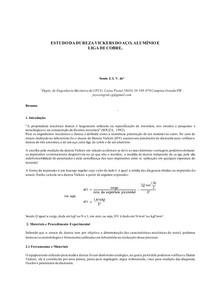 Estudo da dureza Vickers do aço, alumínio e liga de cobre