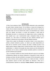 RESENHA CRÍTICA DO FILME COMO ESTRELAS NA TERRA